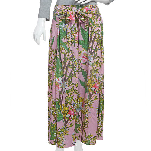 100% Cotton Pink, Green and Multi Colour Flower and Leaves Pattern Palazzo Trouser (Size 95x40 Cm)