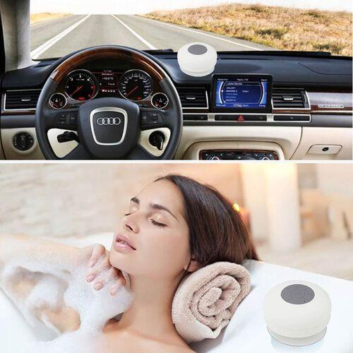 Multi Use Rain / Splash Proof Wireless Bluetooth Stereo Speaker with Built-in Mic. - White