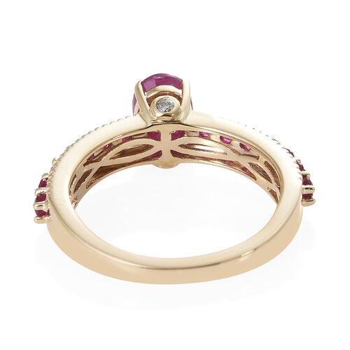 9K Yellow Gold AAA Burmese Ruby (Ovl), Diamond Ring 1.500 Ct.