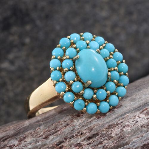 Arizona Sleeping Beauty Turquoise (Ovl and Rnd) Ring in 14K Gold Overlay Sterling Silver 2.500 Ct.