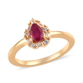 African Ruby (Pear 6x4 mm), Natural White Cambodian Zircon Ring in 14K Gold Overlay Sterling Silver