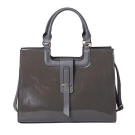 Grey Patent Satchel Bag with Adjustable Shoulder Strap (38x29x14.5x31cm)