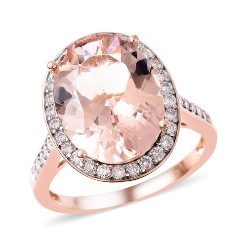 8.82 Ct Rare Marropino Morganite and Diamond Halo Ring in 14K Rose Gold 3.49 Grams