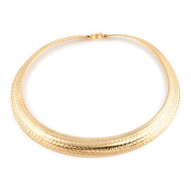Italian Made-9K Yellow Gold Graduated Domed Omega Necklace (Size 18), Gold wt 20.00 Gms.