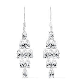 J Francis Crystal from Swarovski - White Crystal (Rnd) Hook Earrings in Sterling Silver, Silver wt 3.97 Gms.