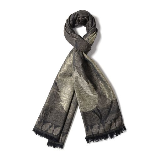 Brown, Golden and Black Colour Scarf with Bamboo Shoot Pattern (Size 180x68 Cm)