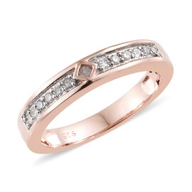 Diamond (Rnd) Band Ring in Rose Gold Overlay Sterling Silver 0.150 Ct.