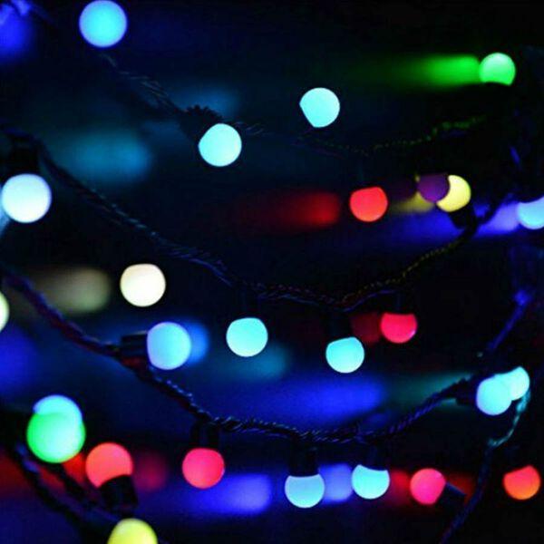 10 Multi Colour LED Bulb String Lights  (2xAA Battery not Included) (Length 165 Cm)