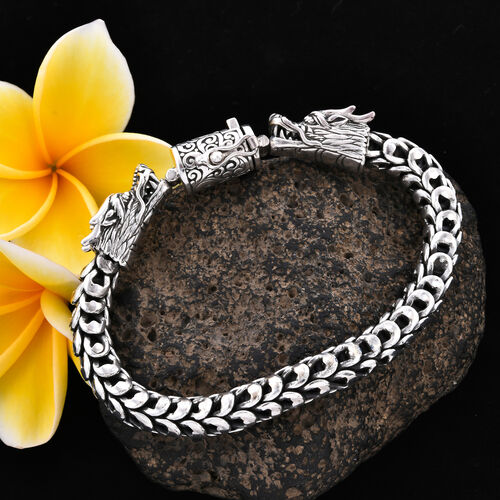 Royal Bali Collection - Sterling Silver Double Dragon Head Snake Chain Bracelet (Size 6.75), Silver wt 51.50 Gms