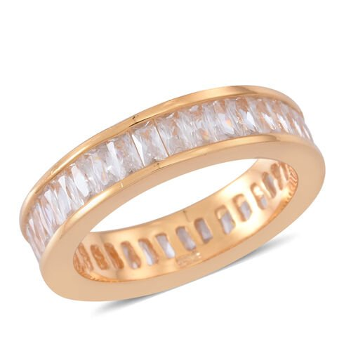 ELANZA AAA Simulated White Diamond (Bgt) Full Eternity Band Ring in 14K Gold Overlay Sterling Silver
