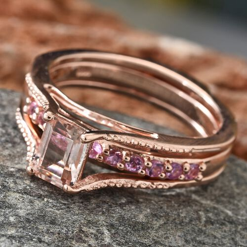 Marropino Morganite (Oct), Pink Sapphire Interchangeable Ring in Rose Gold Overlay Sterling Silver 1.250 Ct. Silver wt 5.25 Gms.