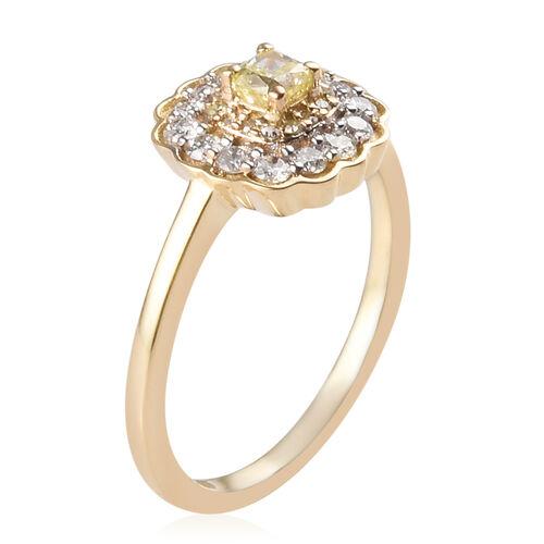9K Yellow Gold White Diamond and Natural Yellow Diamond Ring 0.50 Ct.