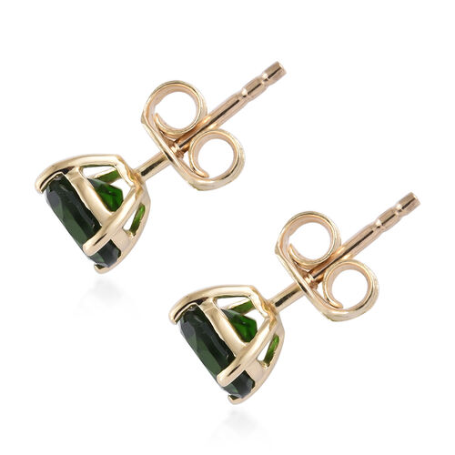 9K Yellow Gold AAA Russian Diopside (Rnd) Stud Earrings ( With Push Back) 1.750 Ct.