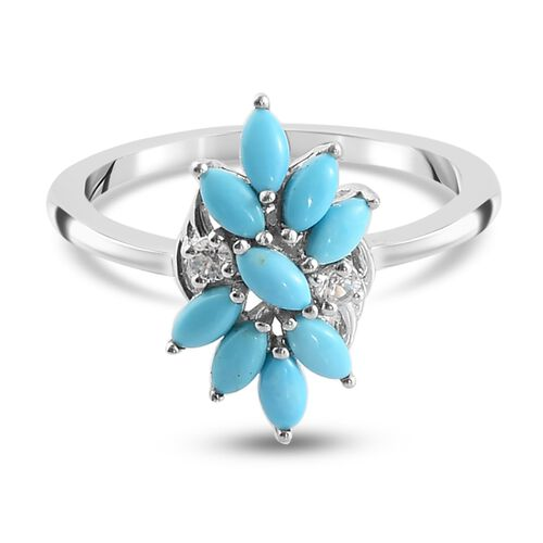 Arizona Sleeping Beauty Turquoise and Natural Cambodian Zircon Floral Ring in Platinum Overlay Sterl