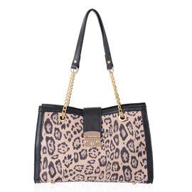 One Time Deal- Beige Colour Leopard Pattern Tote Bag (Size 34.5x23x11 Cm)