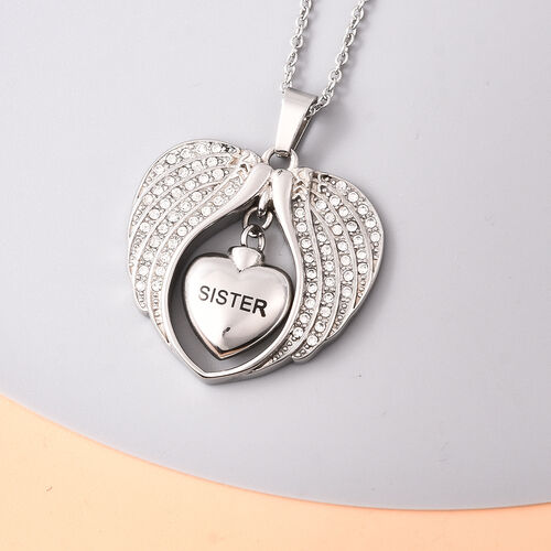 White Austrian Crystal Sister Angel Wing Heart Memorial Urn Pendant with Chain (Size 20) in Stainless Steel