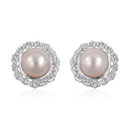 Japanese Akoya Pearl (5.5-6mm) Stud Earrings (with Push Back) in Rhodium Plated Sterling Silver
