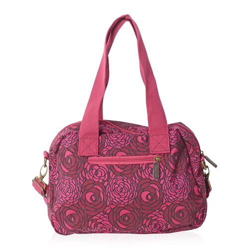 Annabelle Water Resistant Dark Fuchsia Flower Pattern Large Tote Bag with Removable Shoulder Strap and External Zipper (Size 30x20x9 Cm)
