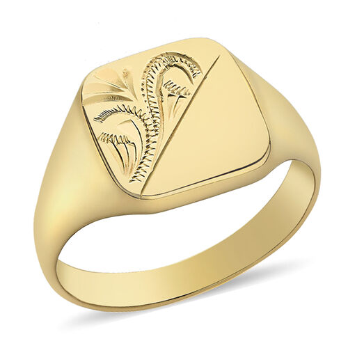 Personalise Engravable 9ct yellow gold square pattern signet ring