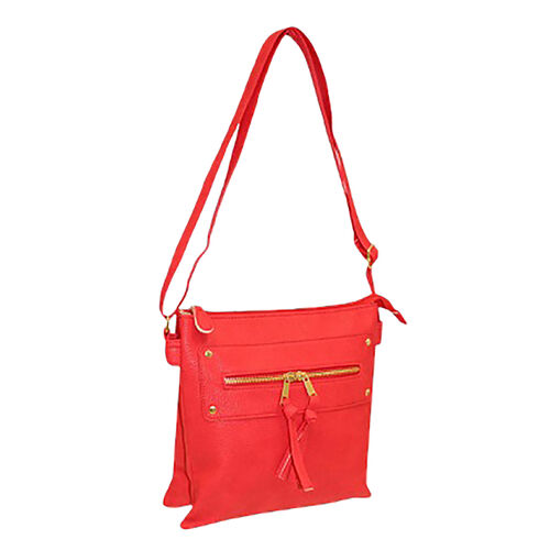 New for Season - Multi Compartment Super Soft Cross Body Bag (26 x 24 x 6 Cms) - Cherry Red