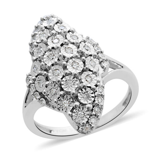 Designer Inspired- Diamond (Rnd) Cluster Ring in Platinum Overlay Sterling Silver 0.250 Ct, Silver wt. 6.50 Gms.