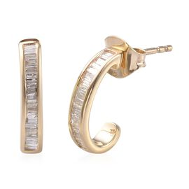 9K Yellow Gold SGL Certified Diamond (Bgt) (I2-I3/G-H) Earrings (with Push Back) 0.330  Ct.