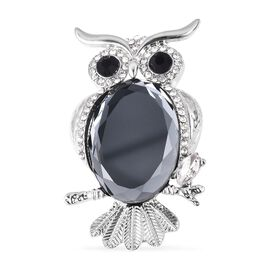 Simulated Grey Spinel (Ovl), Black and White Austrain Crystal Owl Brooch