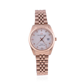CHRISTOPHE DUCHAMP Elysees Swiss Movement Watch With Diamonds in Stainless Steel Rose Gold Strap