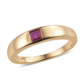 African Ruby (Princess Cut ) Band Ring in 14K Gold Overlay Sterling Silver 0.500 Ct.