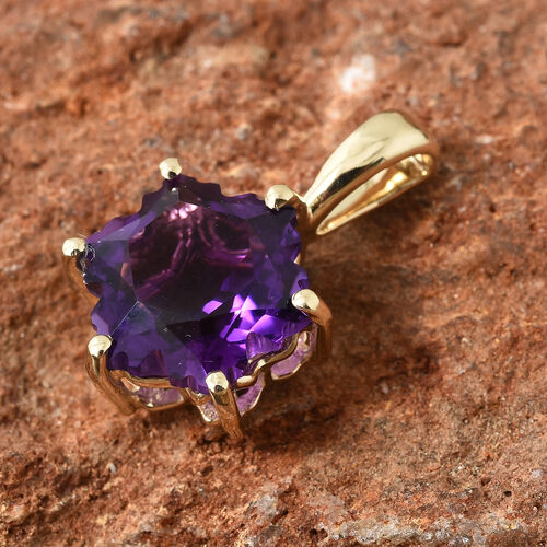 9K Yellow Gold AA Amethyst Stellaris Cut Pendant 3.750 Ct.