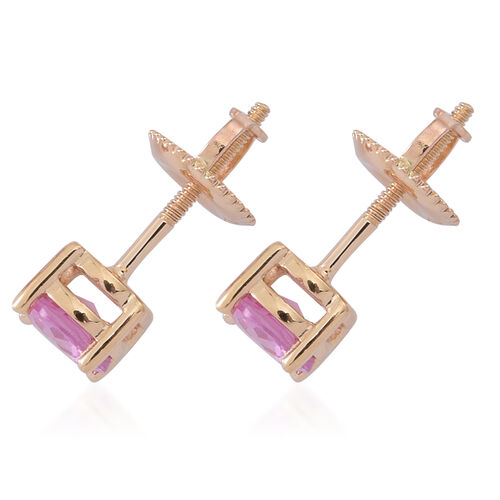ILIANA 18K Yellow Gold Pink Sapphire (Rnd) Stud Earrings (with Screw Back) 1.000 Ct.