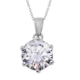 ELANZA Solitaire Pendant with Chain in Sterling Silver 2.30 Grams 18 Inch