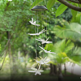 Solar Blue & Red Butterfly LED Wind Chime (Size 65x12.5 cm)