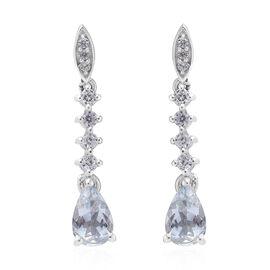 Espirito Santo Aquamarine (Pear), Natural Cambodian Zircon Earrings (with Push Back) in Platinum Overlay Sterling Silver 1.750 Ct.
