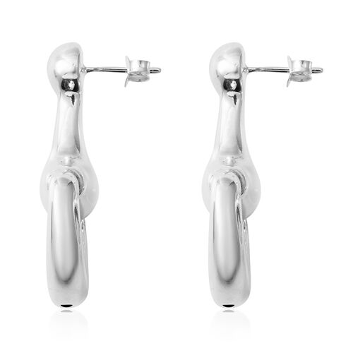 Designer Inspired-Sterling Silver Snaffle Earrings (with Push Back), Silver wt 7.38 Gms.