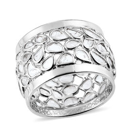 Artisan Crafted Polki Diamond Ring in Platinum Overlay Sterling Silver 1.70 Ct