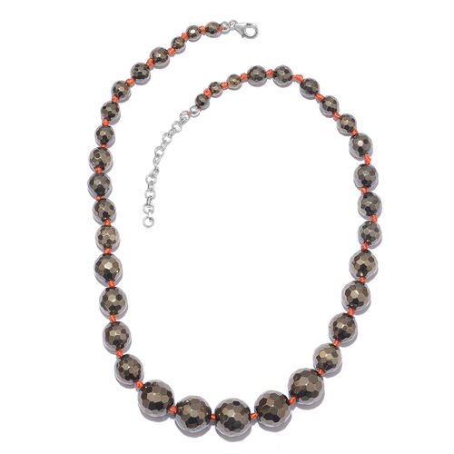 Hematite Ball Beads Graduated Necklace (Size 18 with 2 inch Extender) in Platinum Overlay Sterling Silver 315.000 Ct.