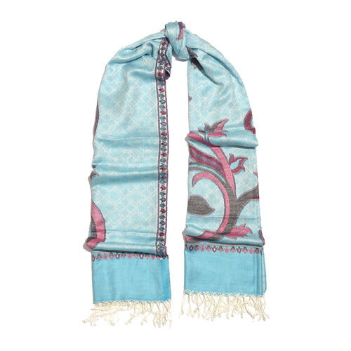 Turquoise and Multi Colour Jacquard Scarf with Tassels (Size 190X70 Cm)