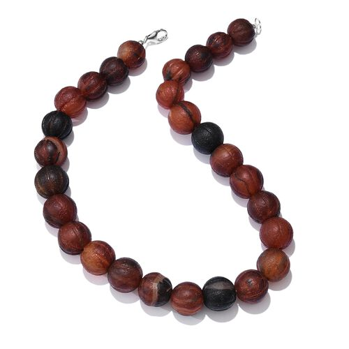 Limited Edition- Carved Agate (Rnd 14mm) Necklace (Size 20) in Sterling Silver 1057.500 Ct.