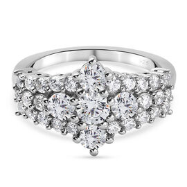 J Francis Platinum Overlay Sterling Silver Cluster Ring Made with SWAROVSKI ZIRCONIA 2.27 Ct.