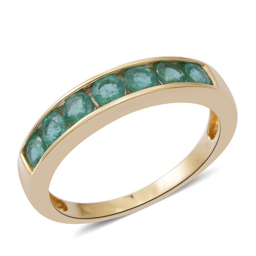 9K Yellow Gold AA Kagem Zambian Emerald (Rnd) Half Eternity Band Ring 1.150 Ct.