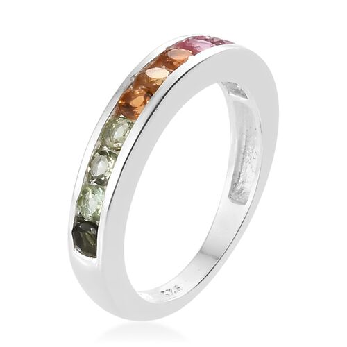 Rainbow Tourmaline (Rnd) Half Eternity Ring in Sterling Silver 1.000 Ct.