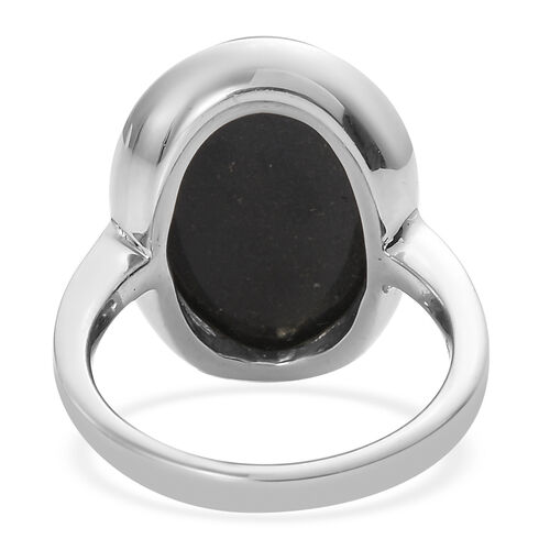 Black Tourmaline Solitaire Ring in Stainless Steel 13.00 Ct.