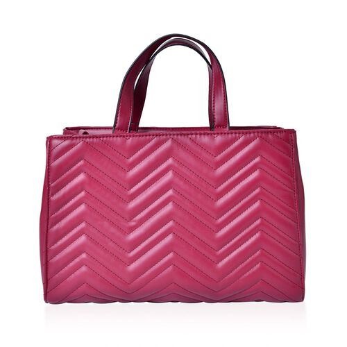 Burgundy Colour ZigZag Pattern Tote Bag with Adjustable and Removable Shoulder Strap (Size 33X23X13 Cm)