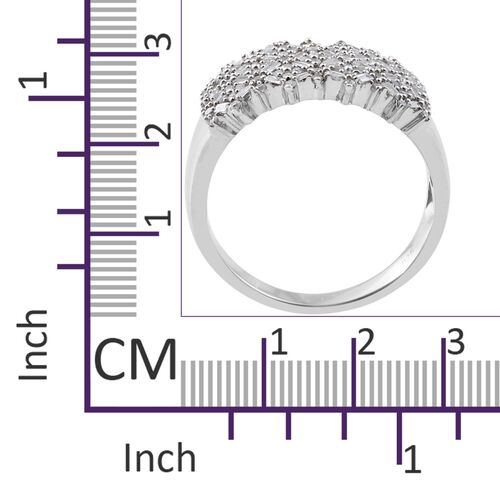 Diamond (Bgt) Ring in Platinum Overlay Sterling Silver 0.750 Ct. Silver wt 5.13 Gms. Number of Diamonds 114