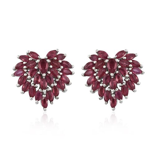 African Ruby (Pear) Heart Stud Earrings (with Push Back) in Platinum Overlay Sterling Silver 6.000 Ct.
