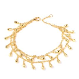 LucyQ Yellow Gold Overlay Sterling Silver Two Layer Drip Bracelet (Size 8), Silver wt 18.70 Gms.