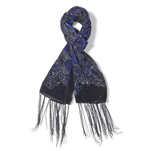 Designer Inspired - Black, Blue and Silver Colour Tulip Flower Pattern Scarf with Tassels (Size 160x52 Cm)