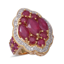 10.64 Ct African Ruby and Zircon Cluster Ring in Gold Plated Silver 8.50 grams