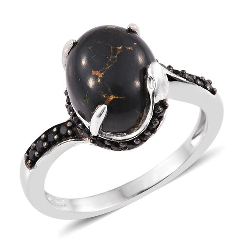 Arizona Mojave Black Turquoise (Ovl 4.50 Ct), Boi Ploi Black Spinel Ring in Platinum Overlay Sterling Silver 5.000 Ct.